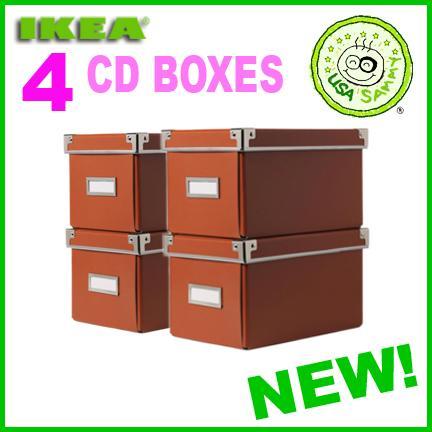 4 orange ikea storage cd boxes lid container cases box ebay. Black Bedroom Furniture Sets. Home Design Ideas