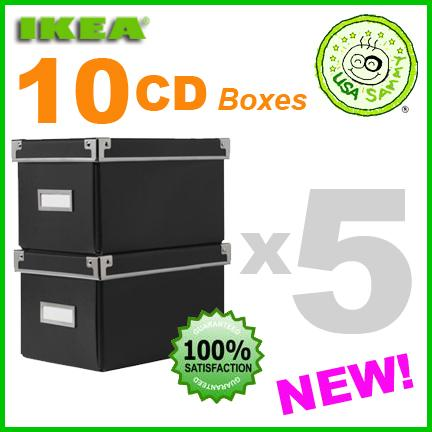 10 black ikea storage cd boxes w lids container cases ebay. Black Bedroom Furniture Sets. Home Design Ideas