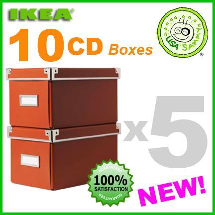 10 orange ikea storage cd boxes box lid container cases ebay. Black Bedroom Furniture Sets. Home Design Ideas