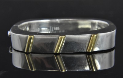 Vtg Laton Mexico Sterling Silver Brass Bangle Bracelet