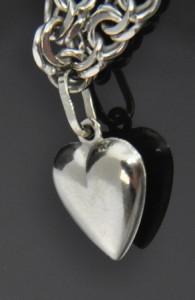 14K White Gold Puffed Heart Dangle Charm Pendant Chain Link Bracelet