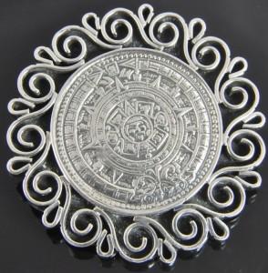 Vtg Taxco Mexico Sterling Silver Aztec Mayan Calendar Brooch Pin Slide