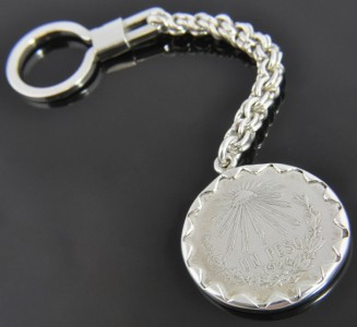 Taxco Sterling Silver 1924 Mexican Peso Dollar Coin Keyring Key Chain