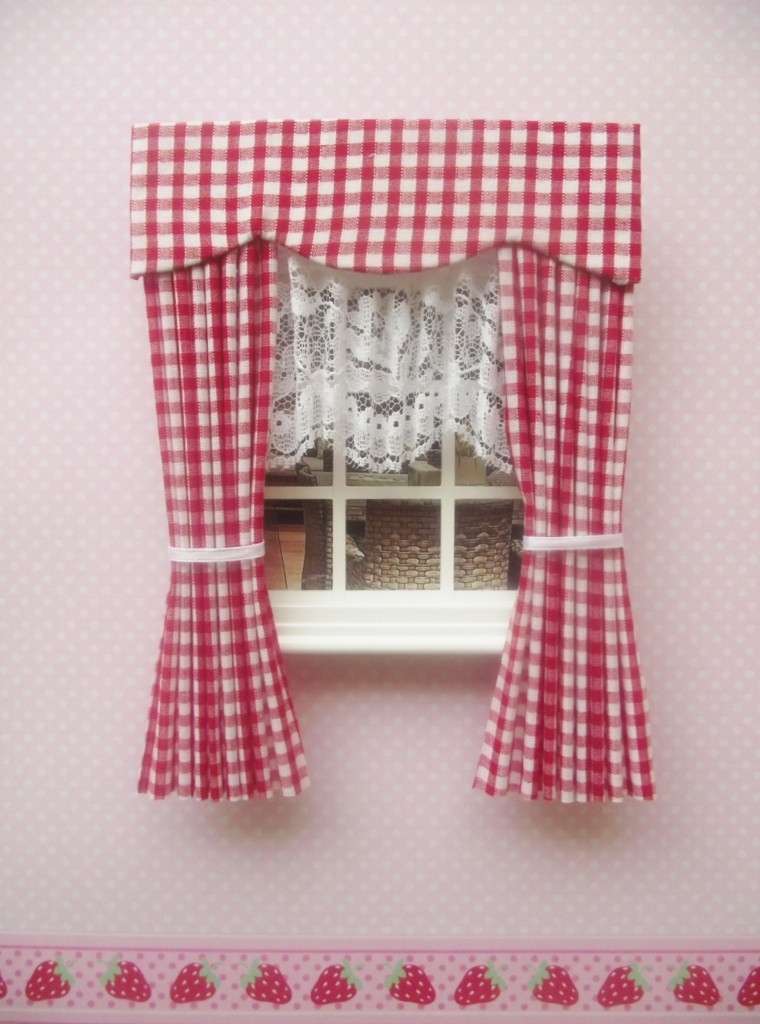 miniature doll house curtains with pelmet and lace blind