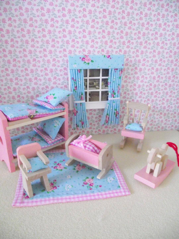 Children\'s Miniatura Casa De Muñecas Muebles Shabby Chic guardería ...