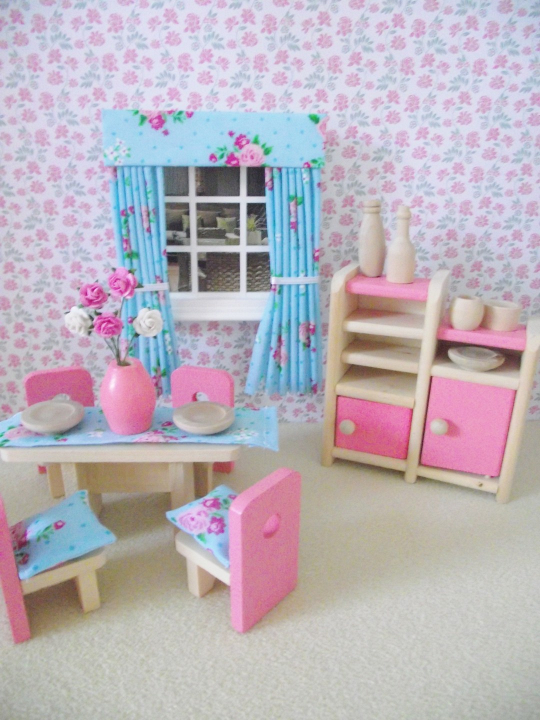 MINIATURE DOLL HOUSE LUXURY WOODEN FURNITURE DINING ROOM SET SHABBY . Full resolution‎  photo, nominally Width 1080 Height 1440 pixels, photo with #30769B.