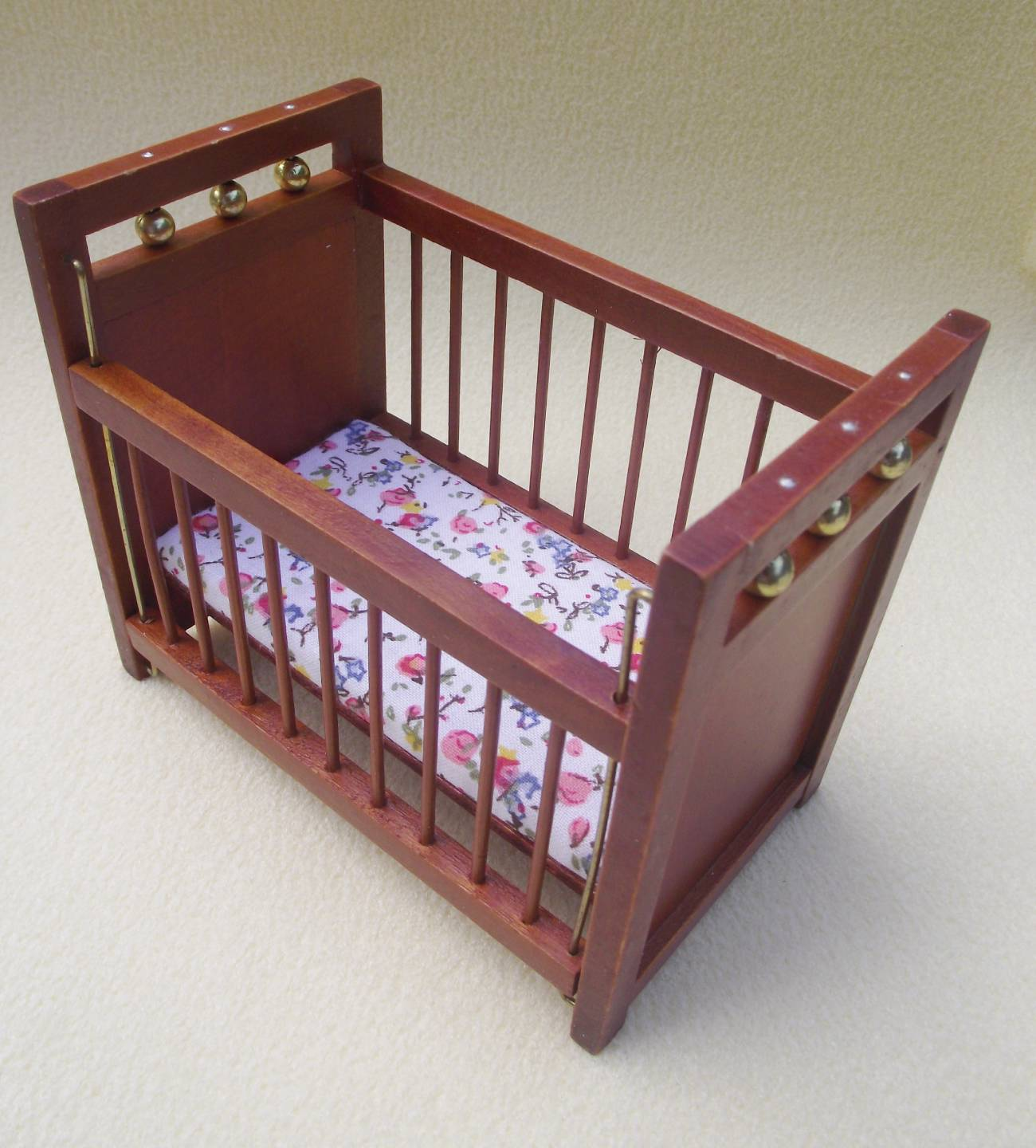 Miniature dolls house furniture 12th scale wooden baby cot with drop side 016 ebay Wooden baby doll furniture