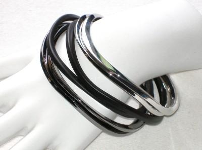 nwt chico s dalia bangle bracelets silver black gray