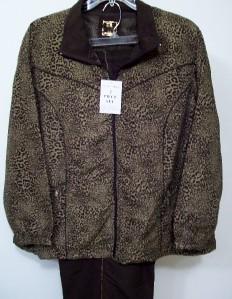 Activology Brown Animal Leopard Print Jogging Track Suit Plus Size 2X
