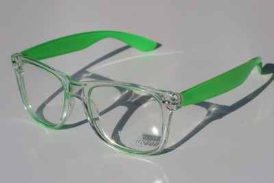 Clear NEON GREEN 80s Vintage Sun-glasses Nerd effect ...