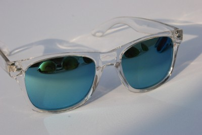 new clear frame mirror lens way sunglasses 80s vintage retro creppy shades
