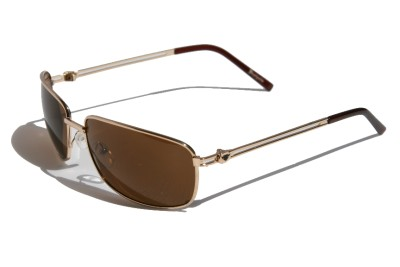Mens Premium Rectangle Aviator Sunglasses Brown lens Gold ...