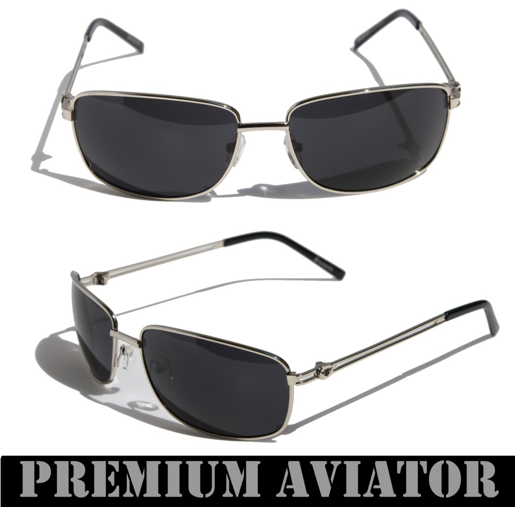 mens premium rectangle aviator sunglasses metal frame insignia