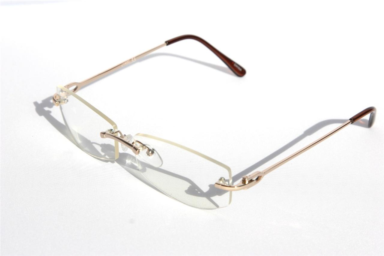 Rimless Clear Glasses : Rimless Clear Lens Sun Glasses Metal Student Teacher ...