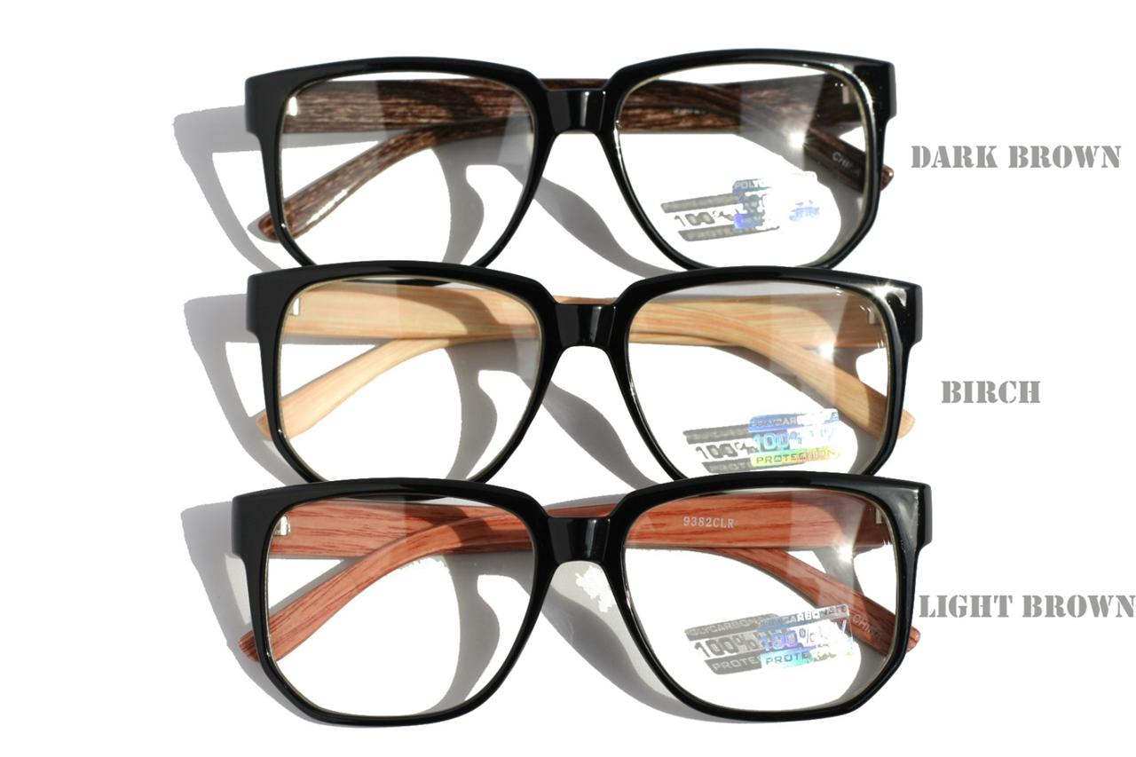 Large Round Brown Wood Frame Clear Lens Sun Glasses ...