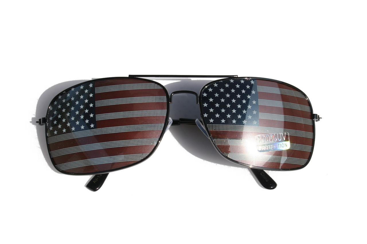New Patriotic Premium Rectangle Aviator Sunglasses metal frame USA ...
