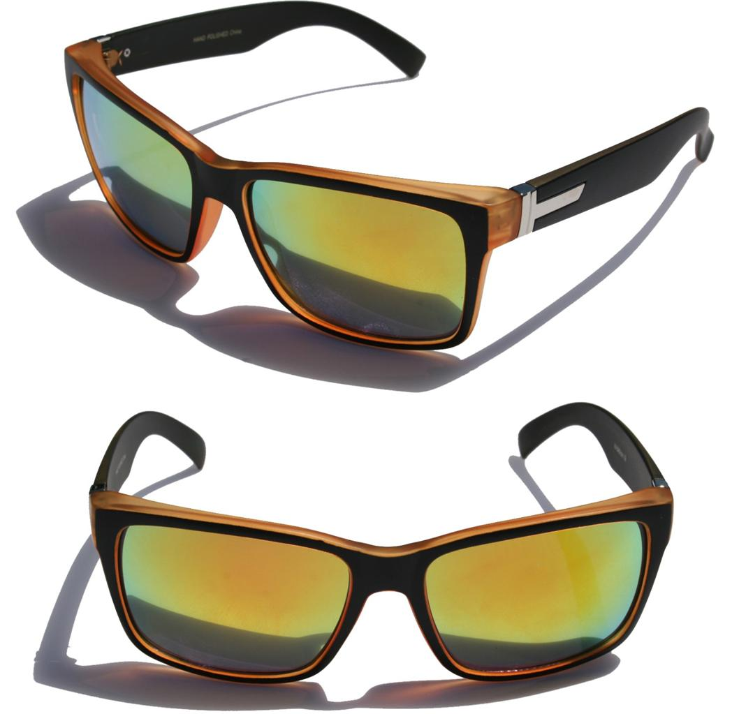 Large Men Matte Square Retro Sunglasses Black frame color Mirror ...