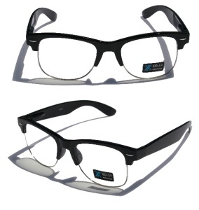 Rimless Geek Glasses : Black Frame Silver Rim Round nerd 80s Sun-Glasses Clear ...