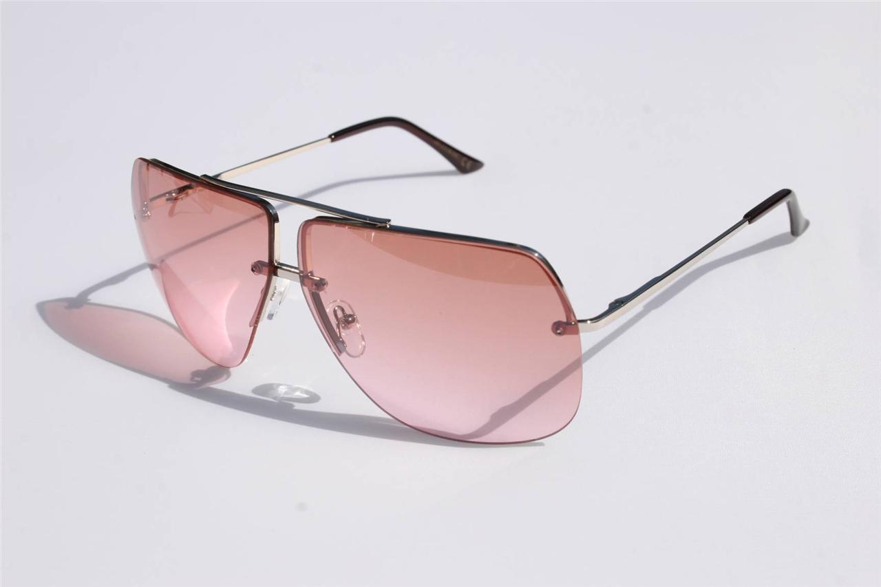 Pink Rimless Glasses : New Celebrity Aviator Sunglasses Pink Gradient Lens ...