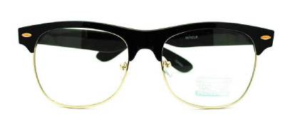 Rimless Geek Glasses : Black Frame Gold Rim Clubmaster nerd 80s Sun-Glasses ...