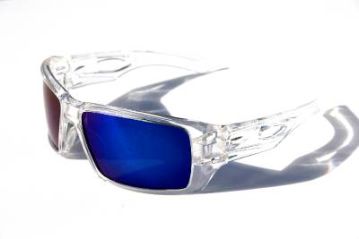 blue polarized lenses  Men Oversized Polarized Sunglasses clear frame with blue mirror ...