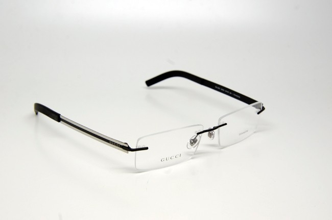 gucci gg 2203 wwq eyeglasses black ruthenium rimless rx