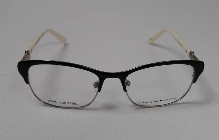 KATE SPADE KS DEEANN 003 S.50 EYEGLASSES BLACK IVORY METAL ...