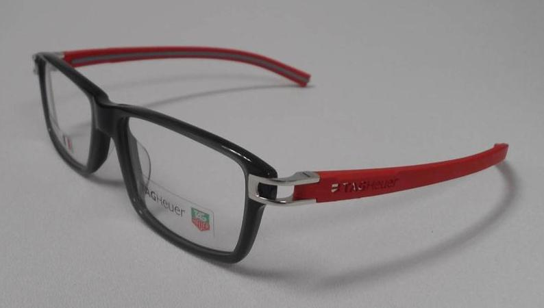 Eyeglass Frame Tags : TAG HEUER TH 7601 004 S.55 TRACK EYEGLASSES BLACK RED RX ...