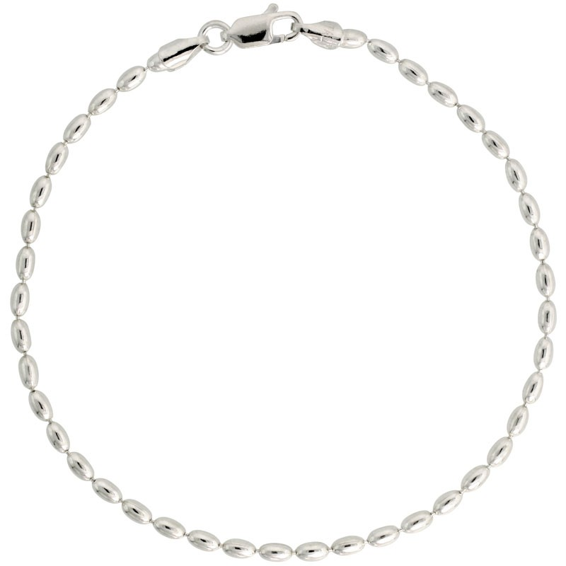 Sterling-Silver-Necklace-Ball-Bead-Chain-3mm-Oval-Balls