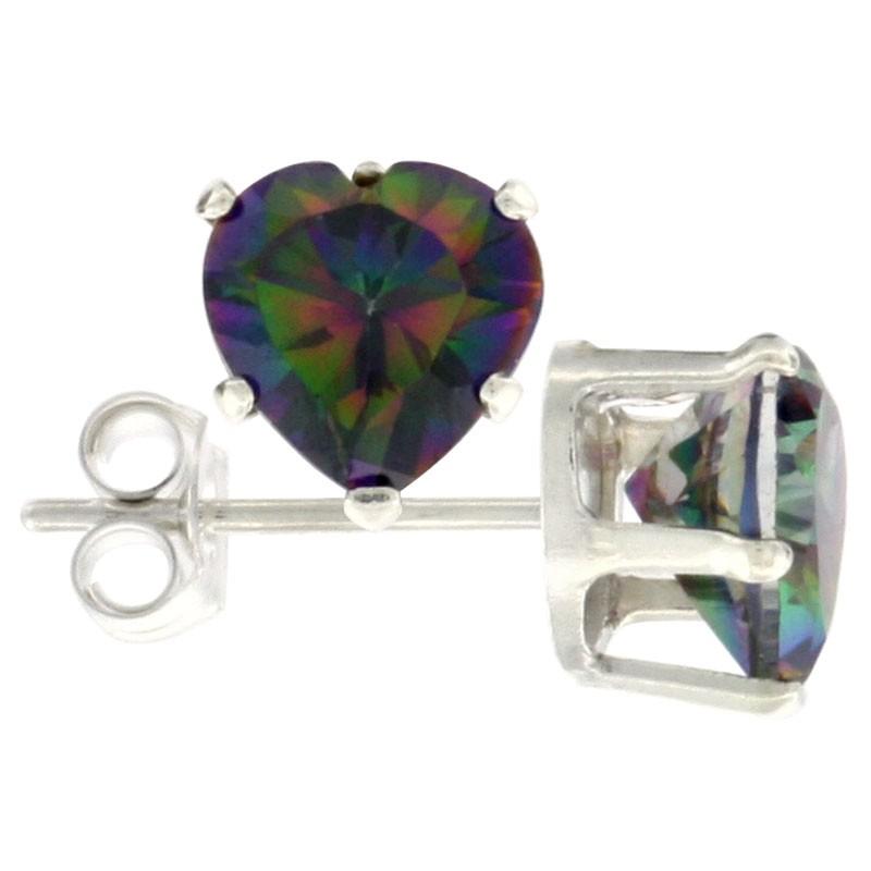 Sterling-Silver-Heart-Stud-Earrings-Mystic-Topaz-CZS