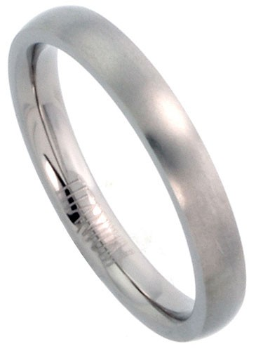 Comfort-Fit-Titanium-Band-3mm-Wedding-or-Thumb-Ring-New-Silver-Brushed-Finish
