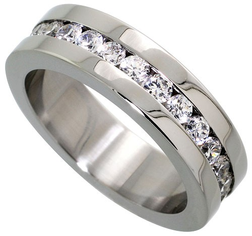 Stainless Steel Eternity Cz Wedding Band Ring Mm