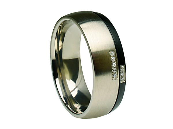 Titanium-Ring-Black-Gun-Metal-Split-w-8-Round-Cut-CZ-Stones-Comfort-Fit-Band