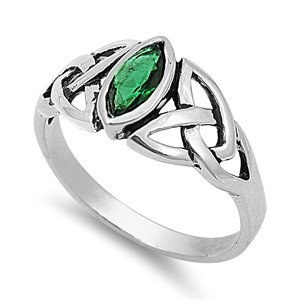 Sterling Silver Emerald CZ Ring Irish Celtic Knot Design Band 925 Italy New in Jewelry & Watches, Fine Jewelry, Fine Rings | eBay
