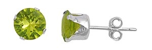 Sterling-Silver-Peridot-CZ-Stud-Earrings-Round-Brilliant-Cut-925-Fine-Jewelry