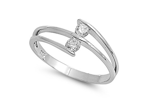 Sterling-Silver-Double-Clear-CZ-Ring-Unique-Band-Rhodium-Finish-Solid-925-Italy