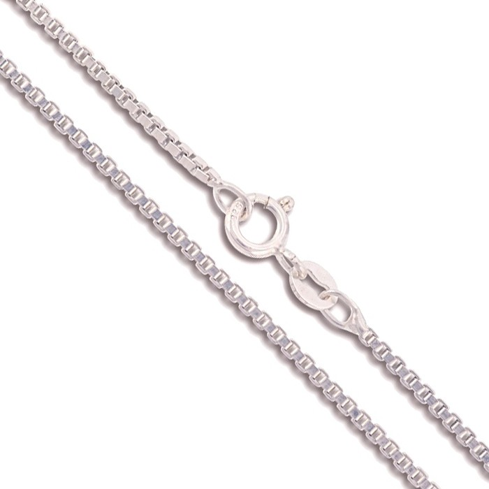 18 sterling silver necklace italian box chain pure 925 italy new 18 034 sterling silver necklace italian box chain mozeypictures Choice Image