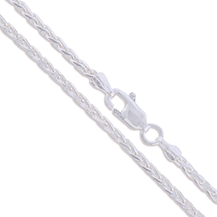"""24"""" Sterling Silver Spiga Necklace Wheat Rope Chain Pure 925 Italy New Wholesale"""