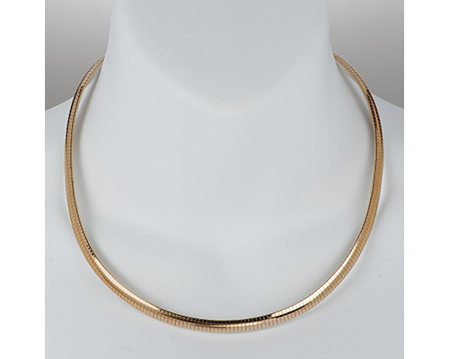 Vermeil Gold Omega Necklace Shiny Finish Sterling Silver ...