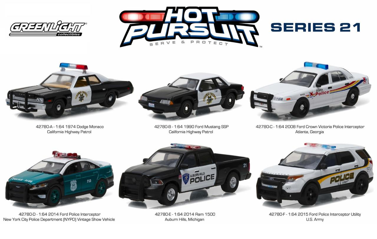 Greenlight 42780 Hot Pursuit Series 21 Set Of 6 Police