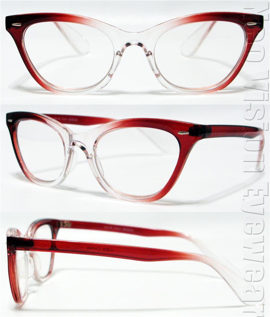 cat eye wayfarer vintage style clear lens reading glasses