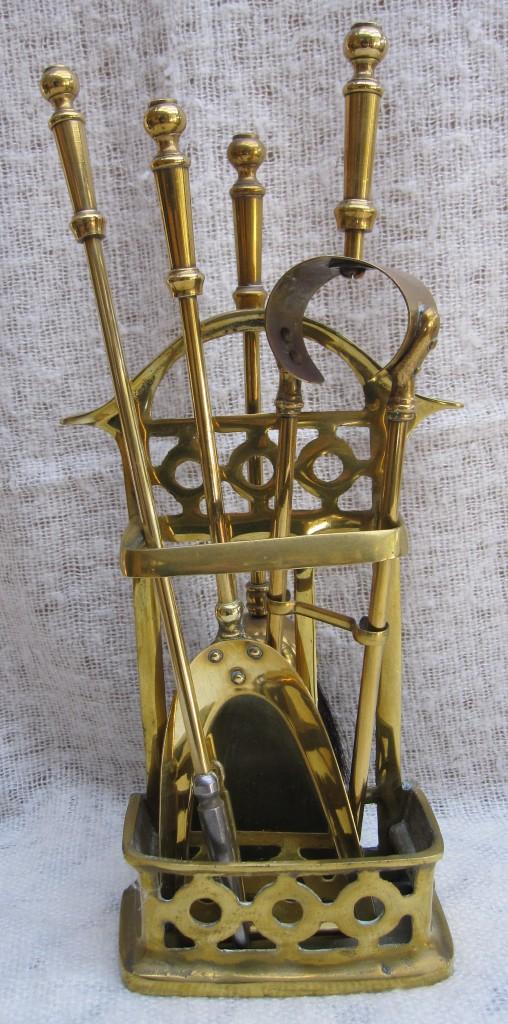 Vintage Solid Brass Petite Fireplace Tool Set