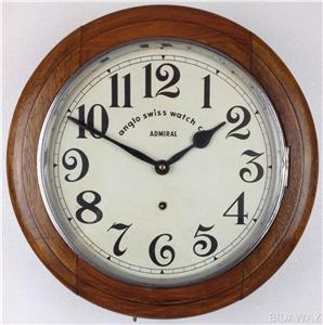 Antique anglo swiss watch co admiral railway station wall clock 788 ebay - Swiss railway wall clock ...