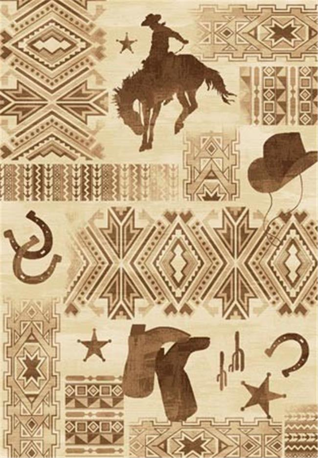COUNTRY STYLE LODGE AREA RUG W BUCKING HORSE
