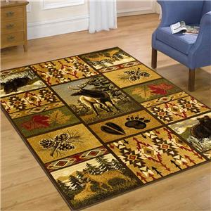Wilderness Lodge Theme Bear Deer Southwestern Mat Rug