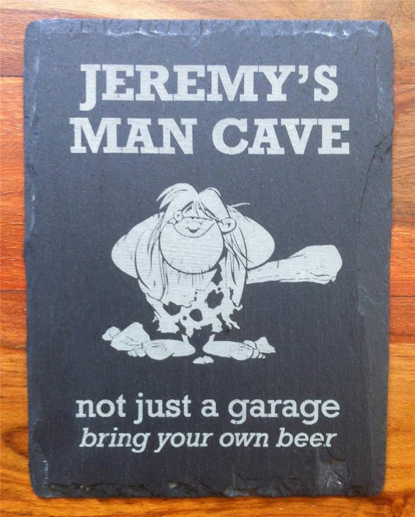 Man Cave Garage Gifts : Slate man cave sign plaque personalised engraved bedroom