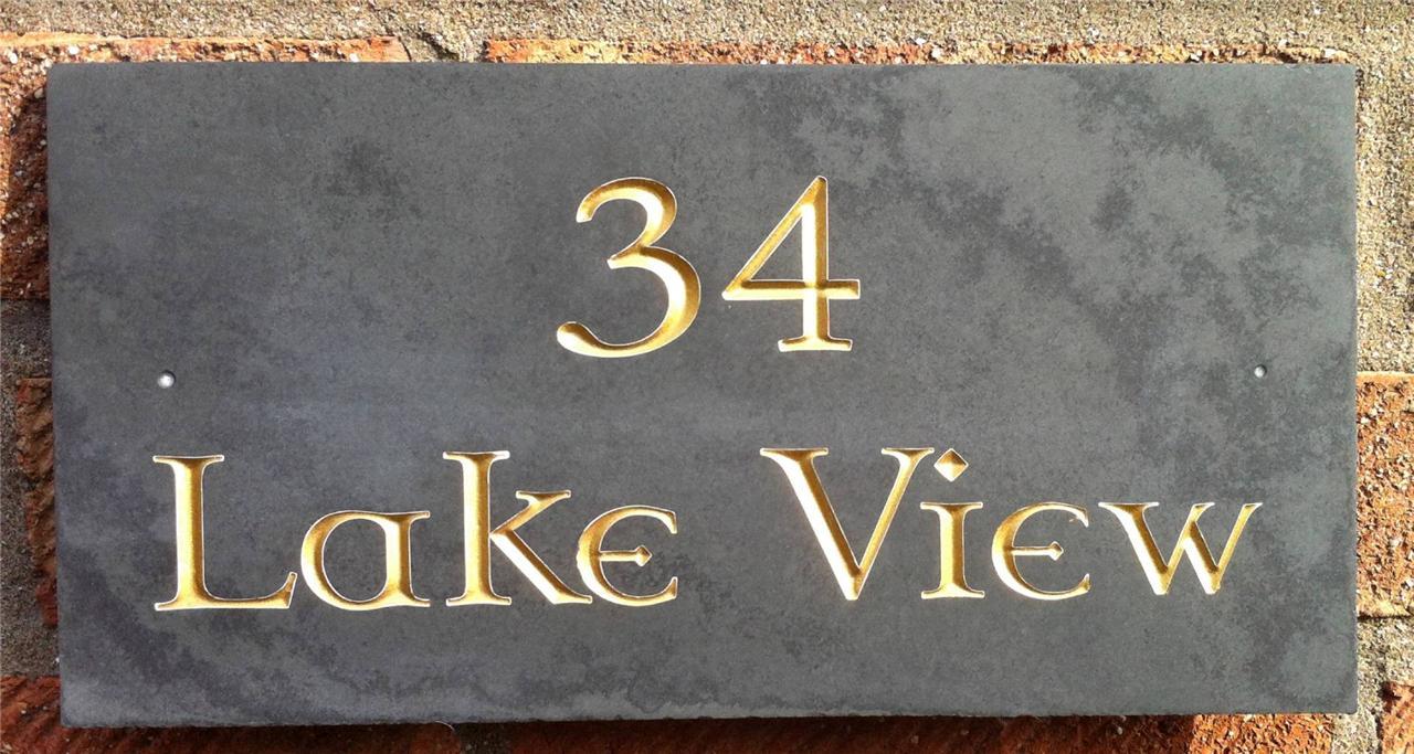 Deep v engraved carved large slate house sign name number for Deep house names