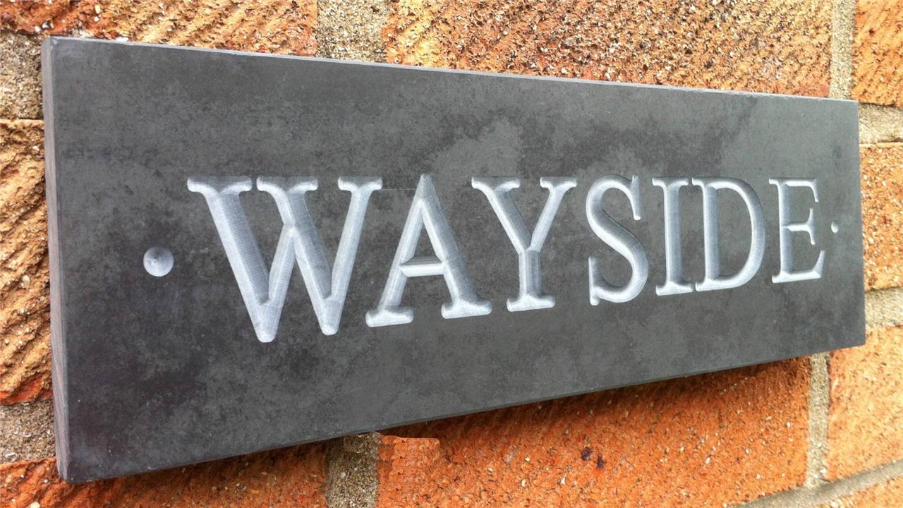 Deep engraved v carved slate house sign name number plaque for Deep house names