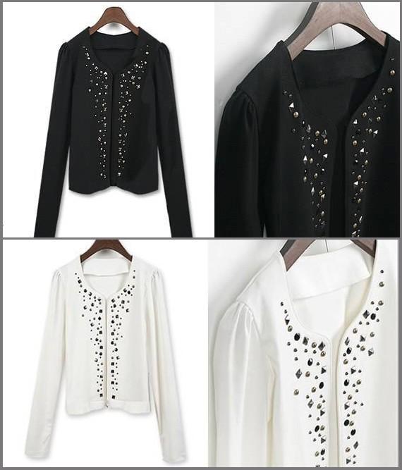 Long-Sleeve-Studded-Rivets-Decorative-Open-Cardigan-Blk-Wht-Col-Jacket-S-M-L-XL