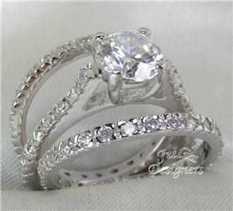 free beautiful double ring gift box for your new ring set - 3 Piece Wedding Ring Set